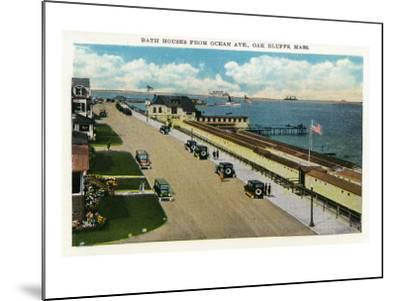 Oak Bluffs, Massachusetts, Ocean Avenue View of the Bath Houses-Lantern Press-Mounted Art Print