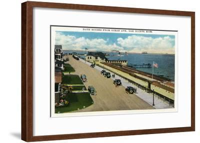 Oak Bluffs, Massachusetts, Ocean Avenue View of the Bath Houses-Lantern Press-Framed Art Print