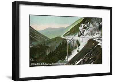 White Mountains, New Hampshire, View of Crawford Notch in August-Lantern Press-Framed Art Print