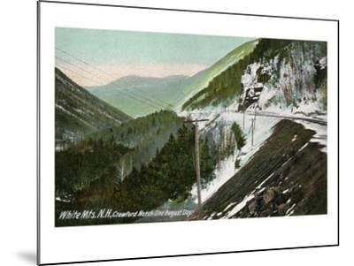 White Mountains, New Hampshire, View of Crawford Notch in August-Lantern Press-Mounted Art Print