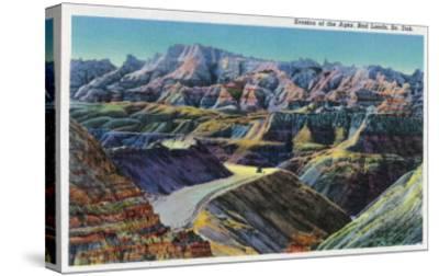 Badlands National Park, South Dakota, View of the Erosion on the Rocks-Lantern Press-Stretched Canvas Print