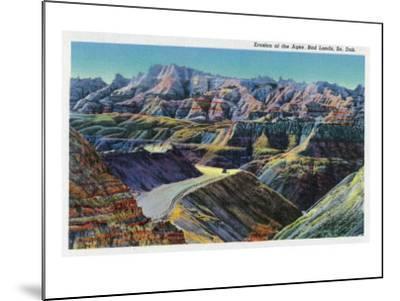 Badlands National Park, South Dakota, View of the Erosion on the Rocks-Lantern Press-Mounted Art Print