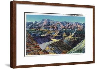 Badlands National Park, South Dakota, View of the Erosion on the Rocks-Lantern Press-Framed Art Print