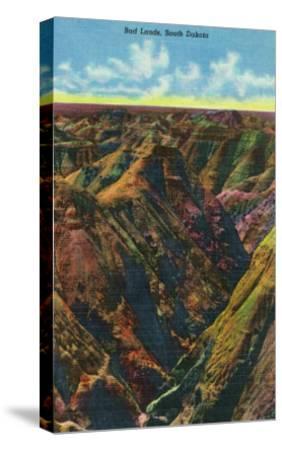 Badlands National Park, South Dakota, Aerial View of the Badlands-Lantern Press-Stretched Canvas Print