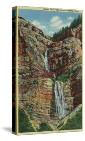 Provo Canyon, Utah, View of Bridal Veil Falls-Lantern Press-Stretched Canvas Print