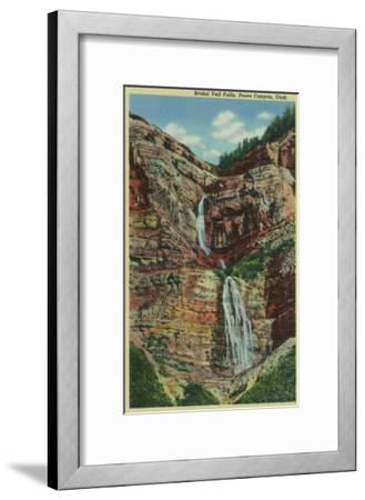 Provo Canyon, Utah, View of Bridal Veil Falls-Lantern Press-Framed Art Print