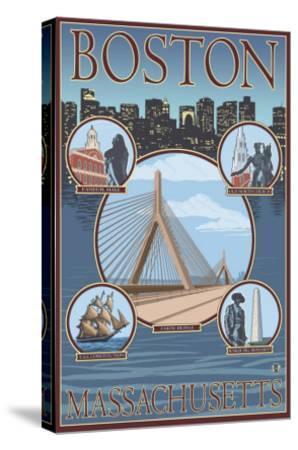 Boston, Massachusetts, Collage Views-Lantern Press-Stretched Canvas Print
