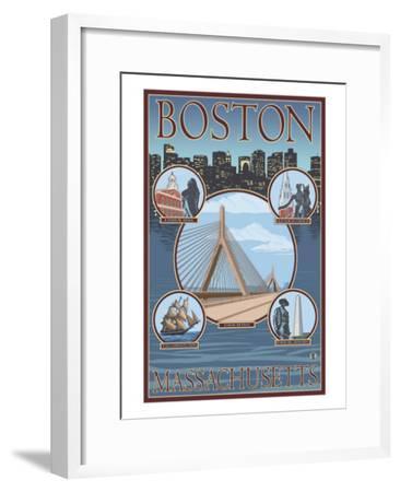 Boston, Massachusetts, Collage Views-Lantern Press-Framed Art Print