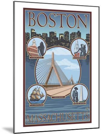 Boston, Massachusetts, Collage Views-Lantern Press-Mounted Art Print