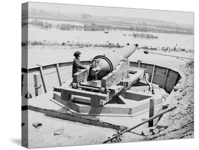 James River, VA, Confederate Battery Above Dutch Gap Canal, Civil War-Lantern Press-Stretched Canvas Print