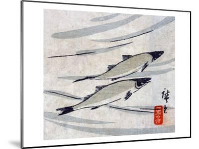 River Trout, Japanese Wood-Cut Print-Lantern Press-Mounted Art Print