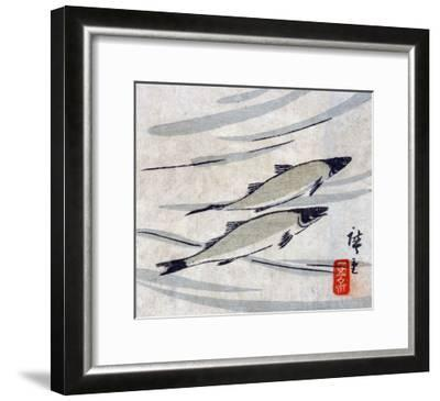 River Trout, Japanese Wood-Cut Print-Lantern Press-Framed Art Print