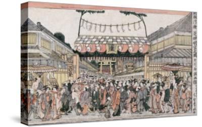 Festival at Shinmei Shrine in Shiba, Japanese Wood-Cut Print-Lantern Press-Stretched Canvas Print