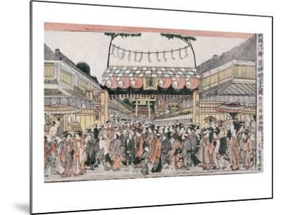 Festival at Shinmei Shrine in Shiba, Japanese Wood-Cut Print-Lantern Press-Mounted Art Print