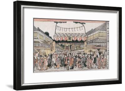 Festival at Shinmei Shrine in Shiba, Japanese Wood-Cut Print-Lantern Press-Framed Art Print