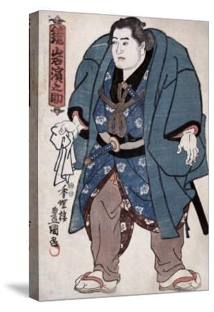 The Sumo Wrestler Kagamiiwa Hamanosuke, Japanese Wood-Cut Print-Lantern Press-Stretched Canvas Print