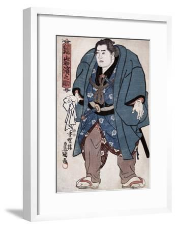 The Sumo Wrestler Kagamiiwa Hamanosuke, Japanese Wood-Cut Print-Lantern Press-Framed Art Print