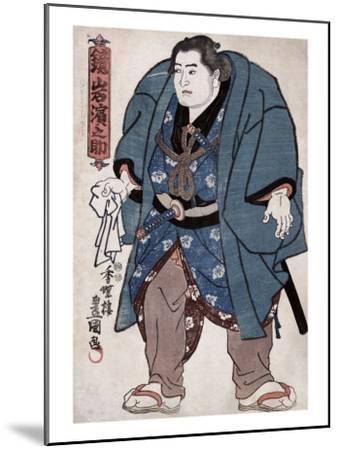 The Sumo Wrestler Kagamiiwa Hamanosuke, Japanese Wood-Cut Print-Lantern Press-Mounted Art Print
