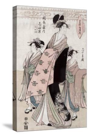 Courtesan Shinateru of the Okamoto-ya, Japanese Wood-Cut Print-Lantern Press-Stretched Canvas Print