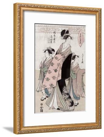 Courtesan Shinateru of the Okamoto-ya, Japanese Wood-Cut Print-Lantern Press-Framed Art Print