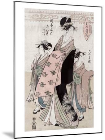Courtesan Shinateru of the Okamoto-ya, Japanese Wood-Cut Print-Lantern Press-Mounted Art Print