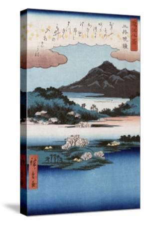 Temple Bell at Mii, Japanese Wood-Cut Print-Lantern Press-Stretched Canvas Print