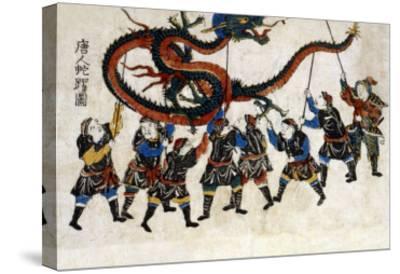 Chinese Dragon Dance, Japanese Wood-Cut Print-Lantern Press-Stretched Canvas Print