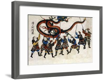 Chinese Dragon Dance, Japanese Wood-Cut Print-Lantern Press-Framed Art Print