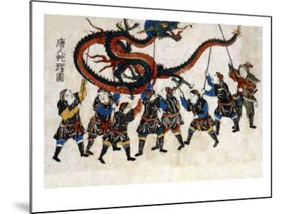 Chinese Dragon Dance, Japanese Wood-Cut Print-Lantern Press-Mounted Art Print
