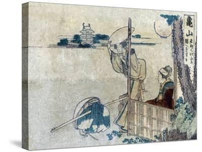 Women with Luggage Waiting for a Porter, Japanese Wood-Cut Print-Lantern Press-Stretched Canvas Print