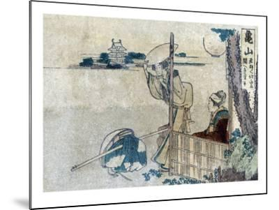 Women with Luggage Waiting for a Porter, Japanese Wood-Cut Print-Lantern Press-Mounted Art Print