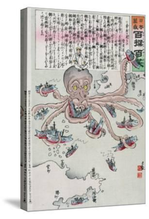 Officer on the Head of an Octopus Capturing Fish, Japanese Wood-Cut Print-Lantern Press-Stretched Canvas Print