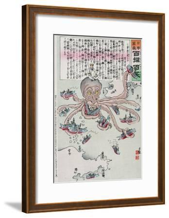 Officer on the Head of an Octopus Capturing Fish, Japanese Wood-Cut Print-Lantern Press-Framed Art Print