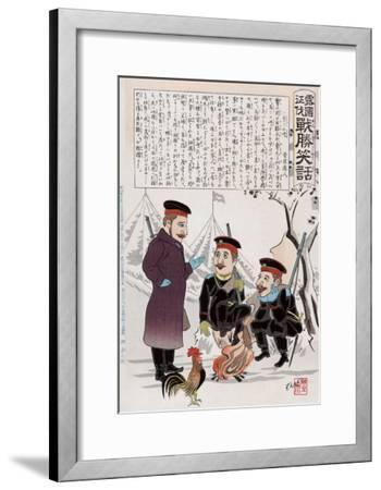 Russian Soldiers and a Rooster around a Campfire, Japanese Wood-Cut Print-Lantern Press-Framed Art Print