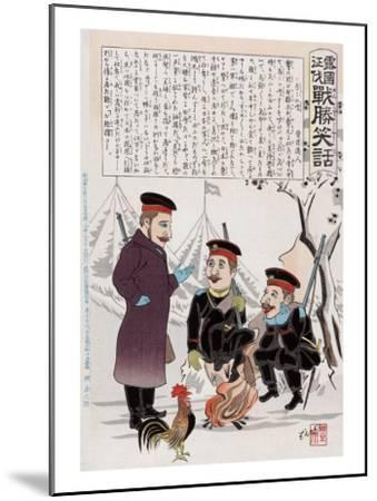 Russian Soldiers and a Rooster around a Campfire, Japanese Wood-Cut Print-Lantern Press-Mounted Art Print