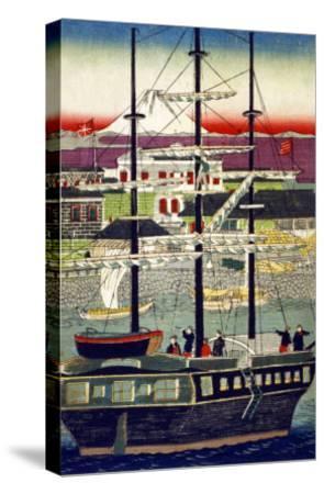3 Masted Ship in Yokohama Harbor, Japanese Wood-Cut Print-Lantern Press-Stretched Canvas Print