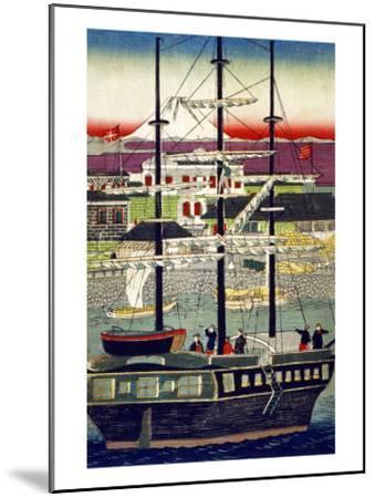 3 Masted Ship in Yokohama Harbor, Japanese Wood-Cut Print-Lantern Press-Mounted Art Print