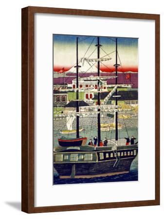 3 Masted Ship in Yokohama Harbor, Japanese Wood-Cut Print-Lantern Press-Framed Art Print