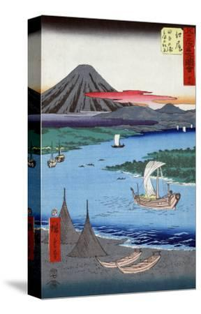 Boats on a River and ashore with Mount Fuji in the Distance, Japanese Wood-Cut Print-Lantern Press-Stretched Canvas Print