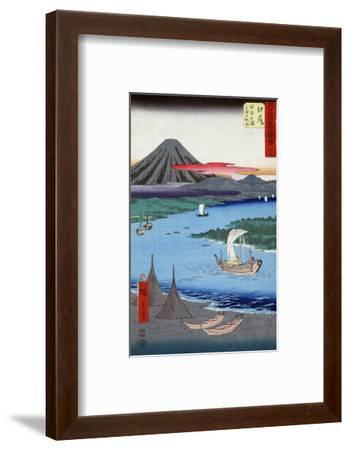 Boats on a River and ashore with Mount Fuji in the Distance, Japanese Wood-Cut Print-Lantern Press-Framed Art Print