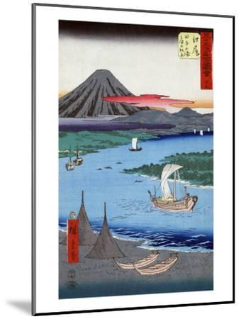 Boats on a River and ashore with Mount Fuji in the Distance, Japanese Wood-Cut Print-Lantern Press-Mounted Art Print