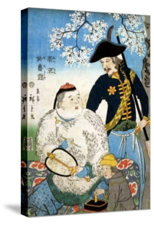 Chinese Man and a Russian Man, Japanese Wood-Cut Print-Lantern Press-Stretched Canvas Print