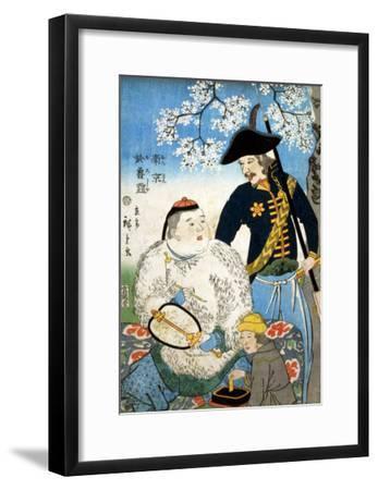 Chinese Man and a Russian Man, Japanese Wood-Cut Print-Lantern Press-Framed Art Print
