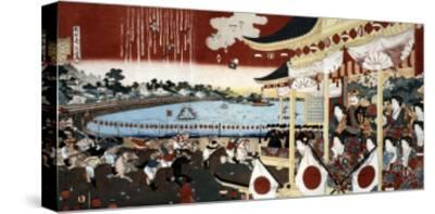 Horse Race in Ueno Park, Japanese Wood-Cut Print-Lantern Press-Stretched Canvas Print