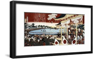 Horse Race in Ueno Park, Japanese Wood-Cut Print-Lantern Press-Framed Art Print