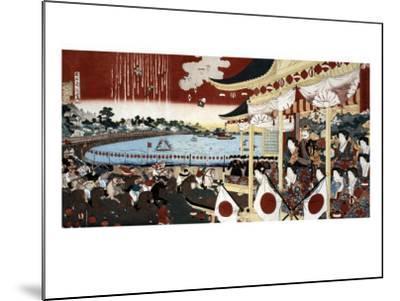 Horse Race in Ueno Park, Japanese Wood-Cut Print-Lantern Press-Mounted Art Print