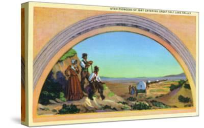 Utah, Representation of Utah Pioneers of 1847 Entering Great Salt Lake Valley-Lantern Press-Stretched Canvas Print