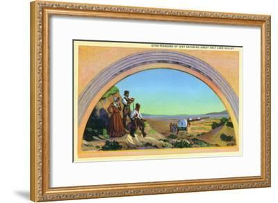Utah, Representation of Utah Pioneers of 1847 Entering Great Salt Lake Valley-Lantern Press-Framed Art Print