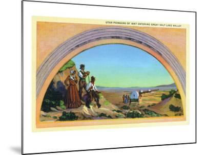 Utah, Representation of Utah Pioneers of 1847 Entering Great Salt Lake Valley-Lantern Press-Mounted Art Print