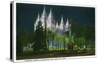 Salt Lake City, Utah, Exterior View of the Mormon Temple Illuminated at Night-Lantern Press-Stretched Canvas Print